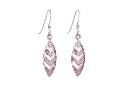 Stříbrné náušnice s růžovou perletí