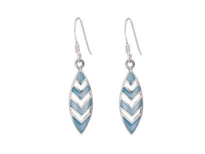 Stříbrné náušnice s modrou perletí
