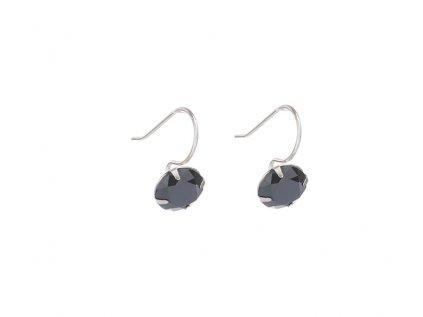Stříbrné náušnice s černými kameny z broušeného skla