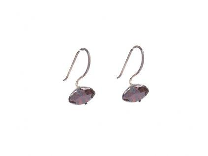 Stříbrné náušnice s vínovými kameny z broušeného skla