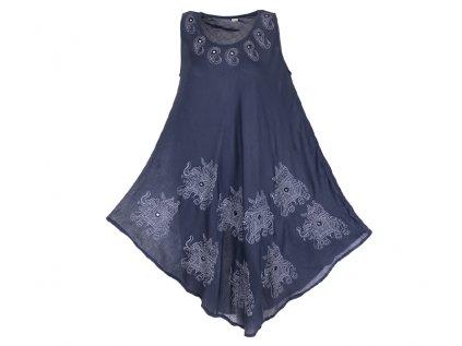 Letní šaty se slony šedomodré