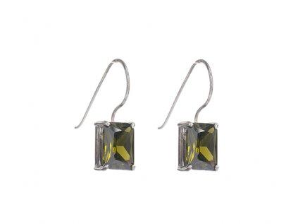 Stříbrné náušnice se zelenými kameny z broušeného skla