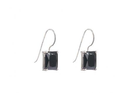 Stříbrné náušnice se černými kameny z broušeného skla