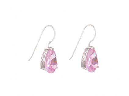 Stříbrné náušnice Růžové slzy z broušeného skla