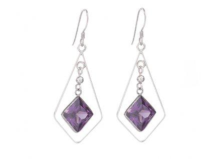 Dlouhé stříbrné náušnice s fialovými broušenými kameny