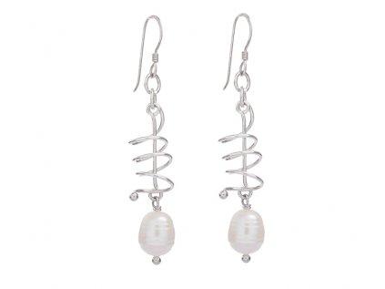 Dlouhé stříbrné náušnice s říčními perlami