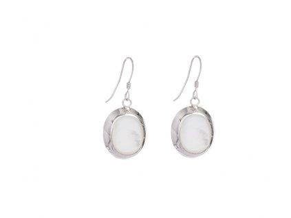 Stříbrné náušnice s bílou perletí