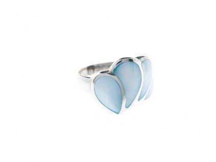 Stříbrný prsten s modrou perletí