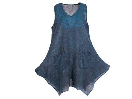 Bavlněné šaty s kapsami šedomodré