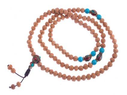Japa mala rudraksha s tibetskými korálky