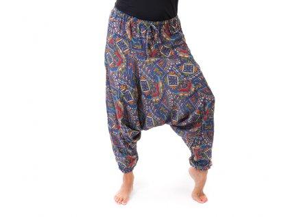 Harémové kalhoty orientální design modré