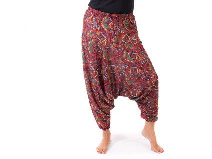 Harémové kalhoty orientální design červené