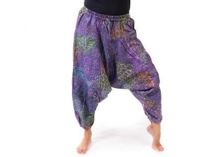 harémové kalhoty s orientálním vzorem fialové