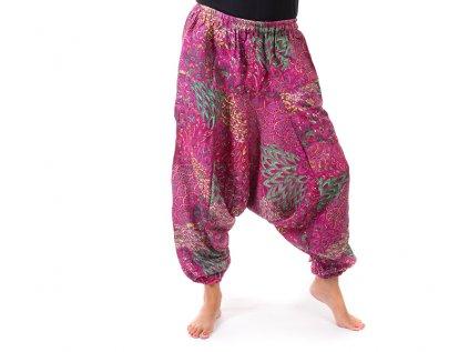 harémové kalhoty s orientálním vzorem fuchsiové
