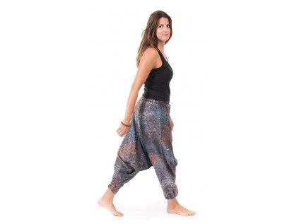 Harémové kalhoty s indickým vzorem šedé