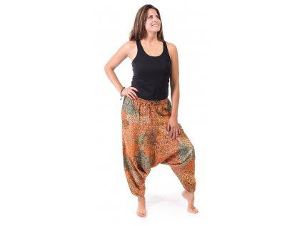 Harémové kalhoty s indickým vzorem oranžové