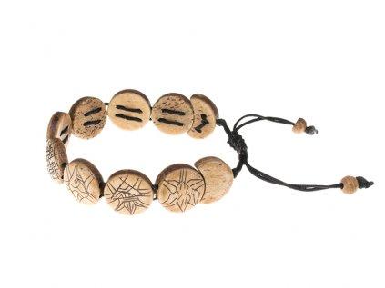 Stahovací náramek z buvolí kosti 8 symbolů