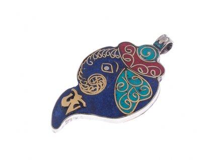 Ochranný tibetský amulet Shanka mušle