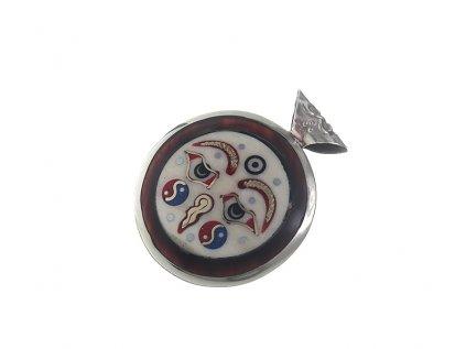 Ochranný oboustranný tibetský amulet Buddhovy oči a mantra