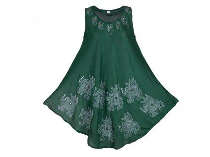 tmavě zelené šaty se slony