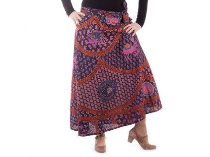 Bavlněná zavinovací sukně s ručním tiskem