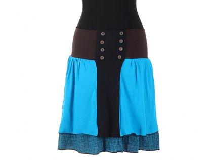 Krátká bavlněná sukně s knoflíčky modrá