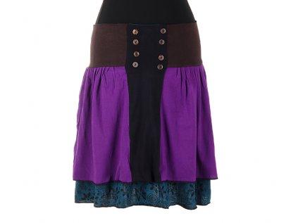 Krátká bavlněná sukně s knoflíčky fialová
