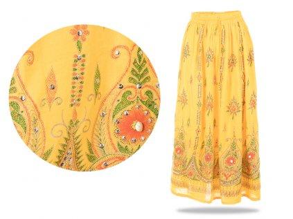 Dlouhá vyšívaná indická sukně s flitry žlutá