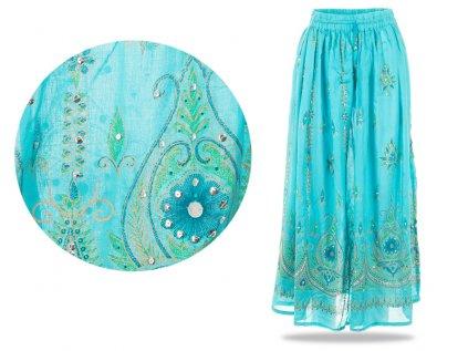 Dlouhá vyšívaná indická sukně s flitry modrozelenkavá