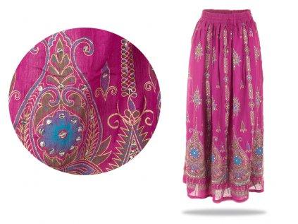 Dlouhá vyšívaná indická sukně s flitry fuchsiová