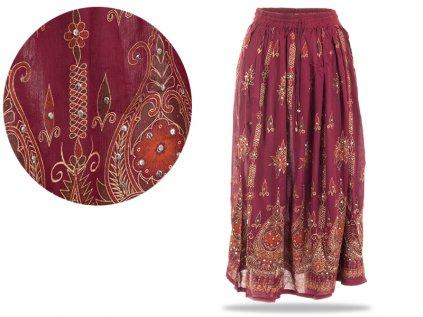 Dlouhá vyšívaná indická sukně s flitry vínová