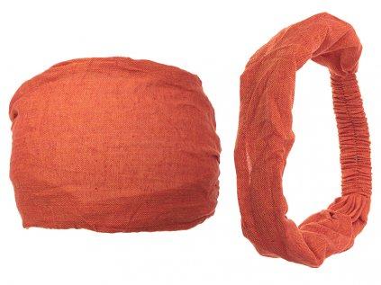 Látková čelenka do vlasů bystrouškově oranžová