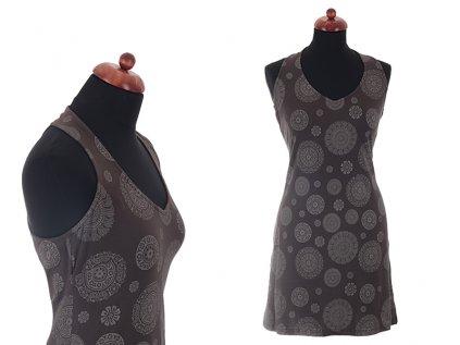 krátké hnědé šaty s mandalami