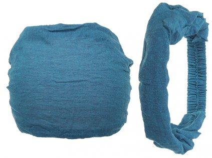 Látková čelenka do vlasů jezerní modrá