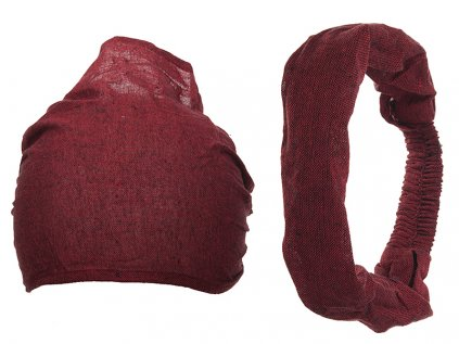 Látková čelenka do vlasů vínově červená