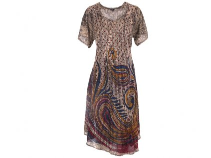 Dlouhé batikované šaty s rukávky šedé