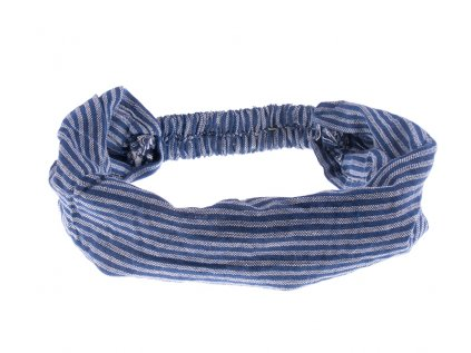 Šátek do vlasů pruhovaný námořnická modrobílá
