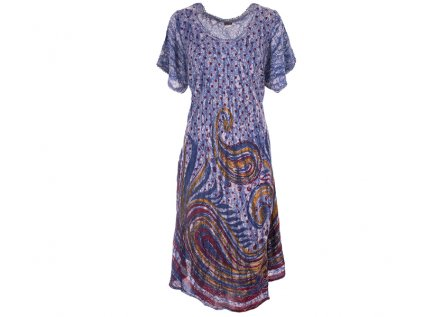 Dlouhé batikované šaty s rukávky modré