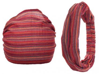 Šátek do vlasů pruhovaný vášnivá červená