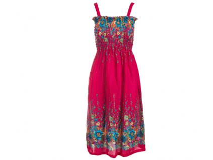 Letní šaty květinové fuchsiové