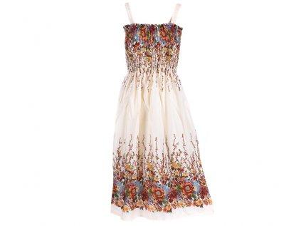 Letní šaty květinové krémové