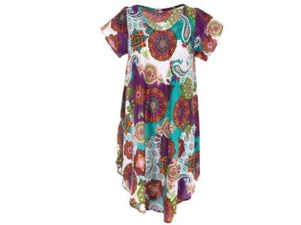 Letní šaty s rukávky bílomodré