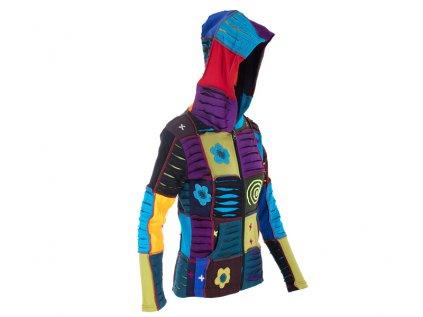 etno mikina patchwork s kapucí