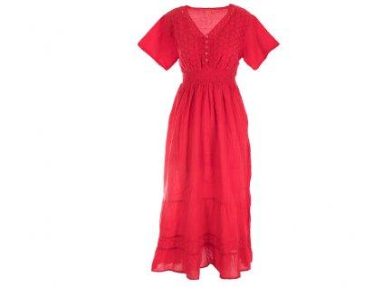 Dlouhé červené šaty s rukávky