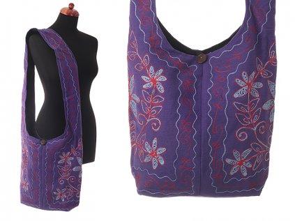 Vyšívaná taška přes rameno mysticky fialová