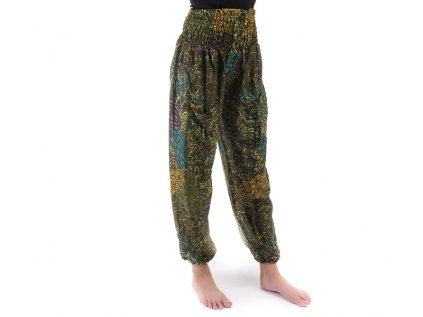 indické kalhoty s kapsami khaki