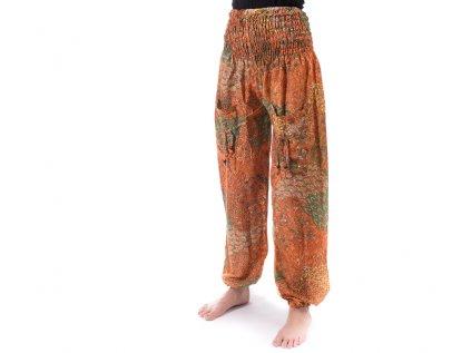 indické kalhoty s kapsami oranžové