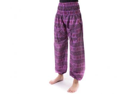 Indické kalhoty s kapsami Mantra fialkové