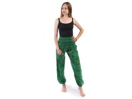 Indické kalhoty s kapsami Mantra zelené