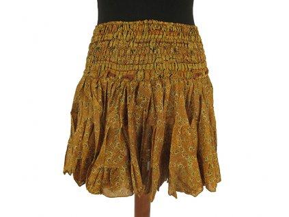 Krátká letní sukně z viskózy okrová